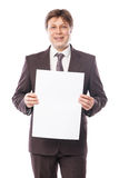 Businessman with empty space for advertisement Royalty Free Stock Photos