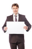 Businessman with empty space for advertisement Royalty Free Stock Images