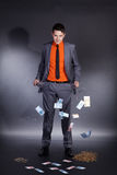 Businessman with empty trouser pocket royalty free stock photo