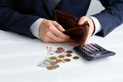 Businessman with empty wallet Royalty Free Stock Photo