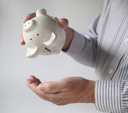 Businessman emptying piggy bank Stock Image