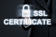 Businessman enabling ssl certificate secure connection to intern. Et network services - online data protection concept Royalty Free Stock Photography