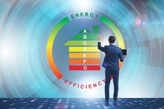 The businessman in energy efficiency concept. Businessman in energy efficiency concept royalty free stock photos