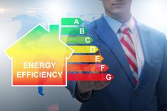 The businessman in energy efficiency concept. Businessman in energy efficiency concept royalty free stock images
