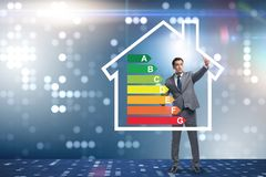 The businessman in energy efficiency concept stock photo