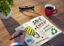 Businessman with Energy and Environmental Concept Royalty Free Stock Photography