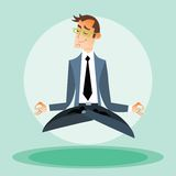 Businessman engaged in yoga Royalty Free Stock Images
