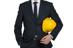 Businessman engineer holding helmet Royalty Free Stock Photography