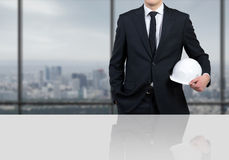Businessman engineer with white helmet Royalty Free Stock Photography