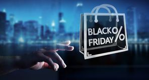 Businessman enjoying black Friday sales 3D rendering Stock Image