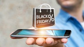 Businessman enjoying black Friday sales 3D rendering Royalty Free Stock Images