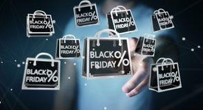 Businessman enjoying black Friday sales 3D rendering. Businessman on blurred background enjoying black Friday sales 3D rendering Royalty Free Stock Photography