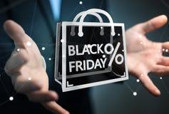 Businessman enjoying black Friday sales 3D rendering. Businessman on blurred background enjoying black Friday sales 3D rendering Stock Photography