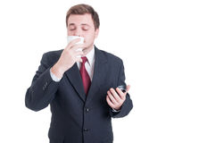 Businessman enjoying a coffee break with fresh smell Royalty Free Stock Image