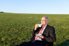 Businessman Enjoying Coffee On Chair In Grassy Field Stock Photo