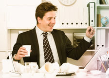 Businessman enjoying the excellent results Royalty Free Stock Photography