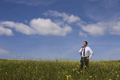 Businessman enjoying a hot summer day Stock Images