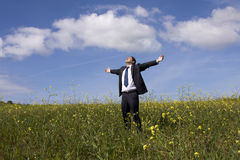 Businessman enjoying nature Stock Images