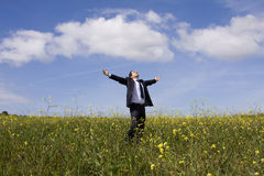 Businessman enjoying nature Royalty Free Stock Photography