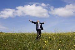 Businessman enjoying nature Royalty Free Stock Photography