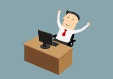 Businessman enjoying success with raised hands Stock Photo
