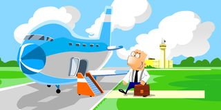 Businessman entering in the airplane Royalty Free Stock Photos