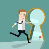 Businessman entering keyhole. Business concept cartoon illustration. Stock Images