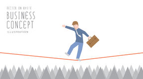 Businessman in equilibrium on a rope over sharp thorns flat vect vector illustration