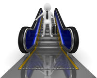 Businessman on escalator Royalty Free Stock Images