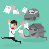 Businessman escape debt car house and bill. Stock Images