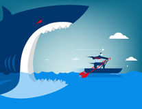 Businessman escape on the shark. Concept business illustration royalty free illustration