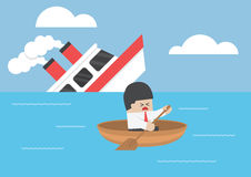 Businessman escape from the shipwreck Royalty Free Stock Photo