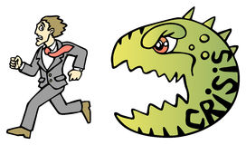 Crisis. Businessman escaping from the crisis. Businessman and monster. Vector illustration Royalty Free Stock Image