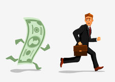 Businessman escaping dollar, running from banknote Stock Photo