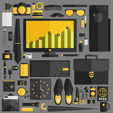 Businessman essentials. Office workflow equipment with various o vector illustration