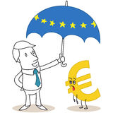 Businessman EU umbrella exhausted euro. Vector illustration of a monochrome cartoon character: Businessman holding EU umbrella over exhausted euro sign stock illustration