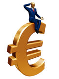Businessman on euro Royalty Free Stock Image