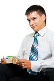 Businessman and the euro Royalty Free Stock Photos