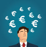 Businessman with Euro icon vector illustration. EPS10 Royalty Free Stock Images