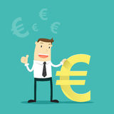 The businessman with Euro money sign Stock Photos