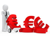 Businessman euro sign. Businessman hold hand truck with red euro Stock Photos