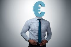 The businessman with euro sign instead of head. Businessman with euro sign instead of head royalty free stock photo