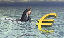 Businessman and euro sinking - 3D render. Businessman and golden euro sinking in the water by grey cloudy day Stock Photos