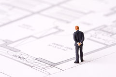 Businessman examining a blueprint stock image