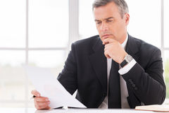 Businessman examining contract. Royalty Free Stock Photos