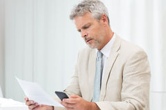 Businessman Examining Report Stock Photos