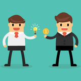 Businessman exchange light bulb idea and money. Business idea co Royalty Free Stock Photo