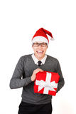 Businessman excited happy smile hold gift box in Stock Images