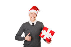 Businessman excited happy smile hold gift box in Stock Photos