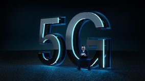 Businessman excited sit on the 3D render 5G futuristic font with blue neon light. Mobile network speed communication technology concept . Mixed media vector illustration